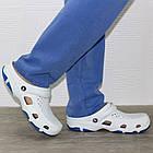 Мужские кроксы, размеры 44, 45 Шлепанцы для медиков сабо белые с синим., фото 7