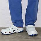 Мужские кроксы, размеры 44, 45 Шлепанцы для медиков сабо белые с синим., фото 8