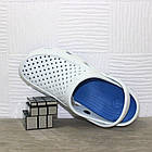 Мужские кроксы, размеры 44, 45 Шлепанцы для медиков сабо белые с синим., фото 9
