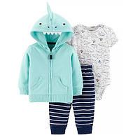 Трикотажный костюм тройка для мальчика Carters акула