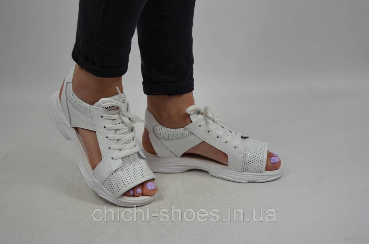 Сандалии женские DITAS 15-11 белые кожа на шнуровке
