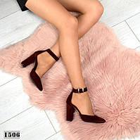 Туфли женские замшевые на каблуках бордо