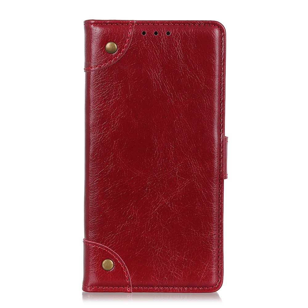 Чехол книжка для Xiaomi Black Shark 2 боковой с отсеком для визиток, Retro style, красный