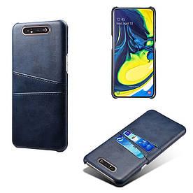 Чехол накладка для Samsung Galaxy A80 A805FD с кожаной поверхностью и отсеком для визиток, темно-синий