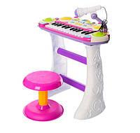 Детский орган пианино со стульчиком и микрофоном Joy Toy  «Я музыкант» 7235 розовое