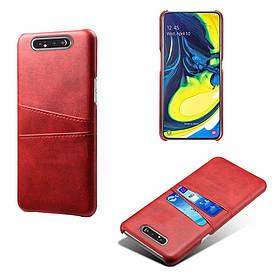Чехол накладка для Samsung Galaxy A80 A805FD с кожаной поверхностью и отсеком для визиток, красный