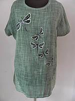 Блуза удлиненная (туника) прямого кроя с карманом  из льна батал, стрекоза (р-р.54) Код 1383М