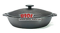 Чугунная жаровня 28см с чугунной крышкой БИОЛ 03281. Чугунная посуда
