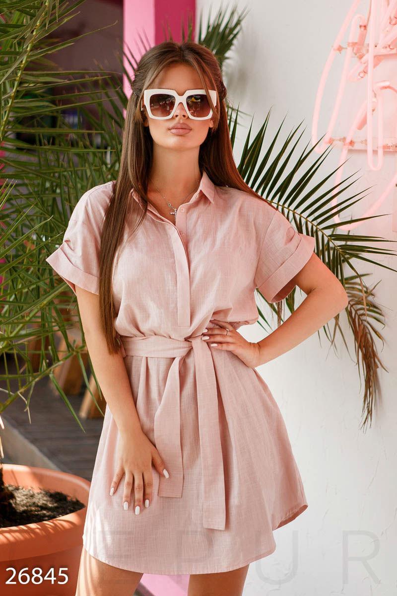Льняное платье-рубашка пудрово-розовое