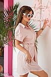 Льняное платье-рубашка пудрово-розовое, фото 2