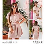 Льняное платье-рубашка пудрово-розовое, фото 4