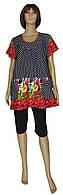 Костюм - комплект женский летний 19044К Dasha Batal Черный/Тюльпаны коттон, туника и бриджи, р.р.52-66