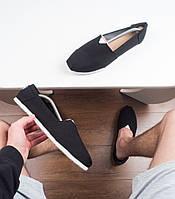 Стильные мужские эспадрильи модные удобные практичные в черном цвете, фото 1