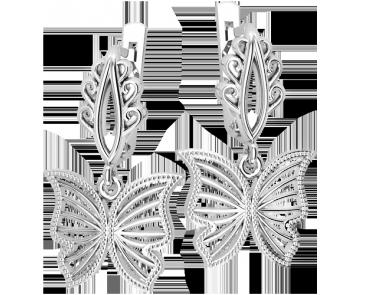 Серьги серебряные Бабочка 41324