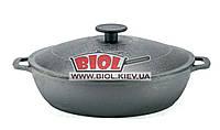 Чугунная жаровня 26см с чугунной крышкой БИОЛ 03261-3. Чугунная посуда Биол