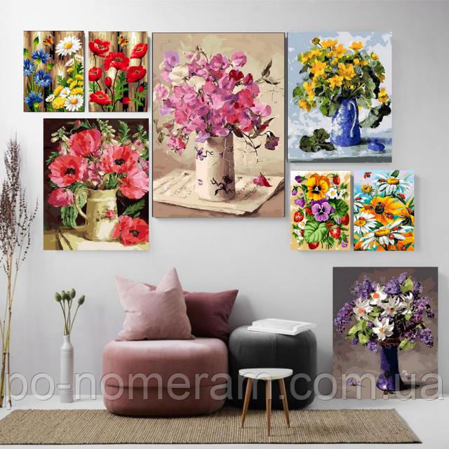 раскраски по цифрам цветы и букеты