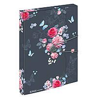 Папка-бокс на резинке Herlitz А4 4см Ladylike Flowers, фото 1
