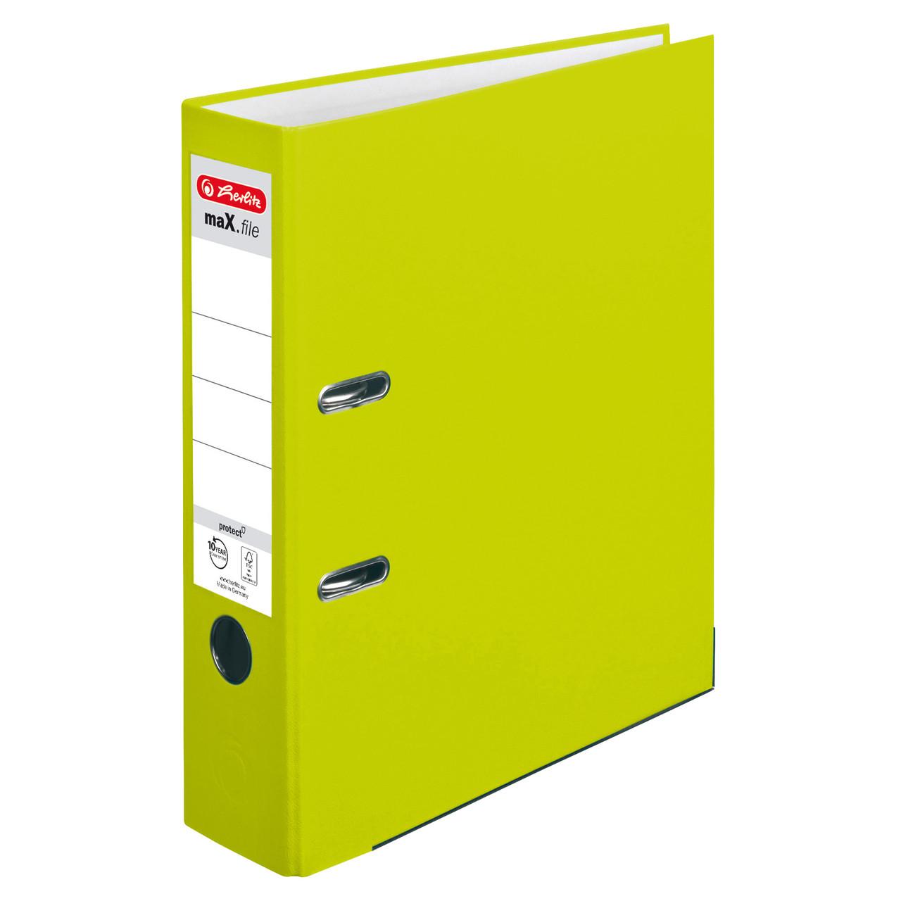 Папка-регистратор Herlitz А4 8см Protect Neon Green лимонная