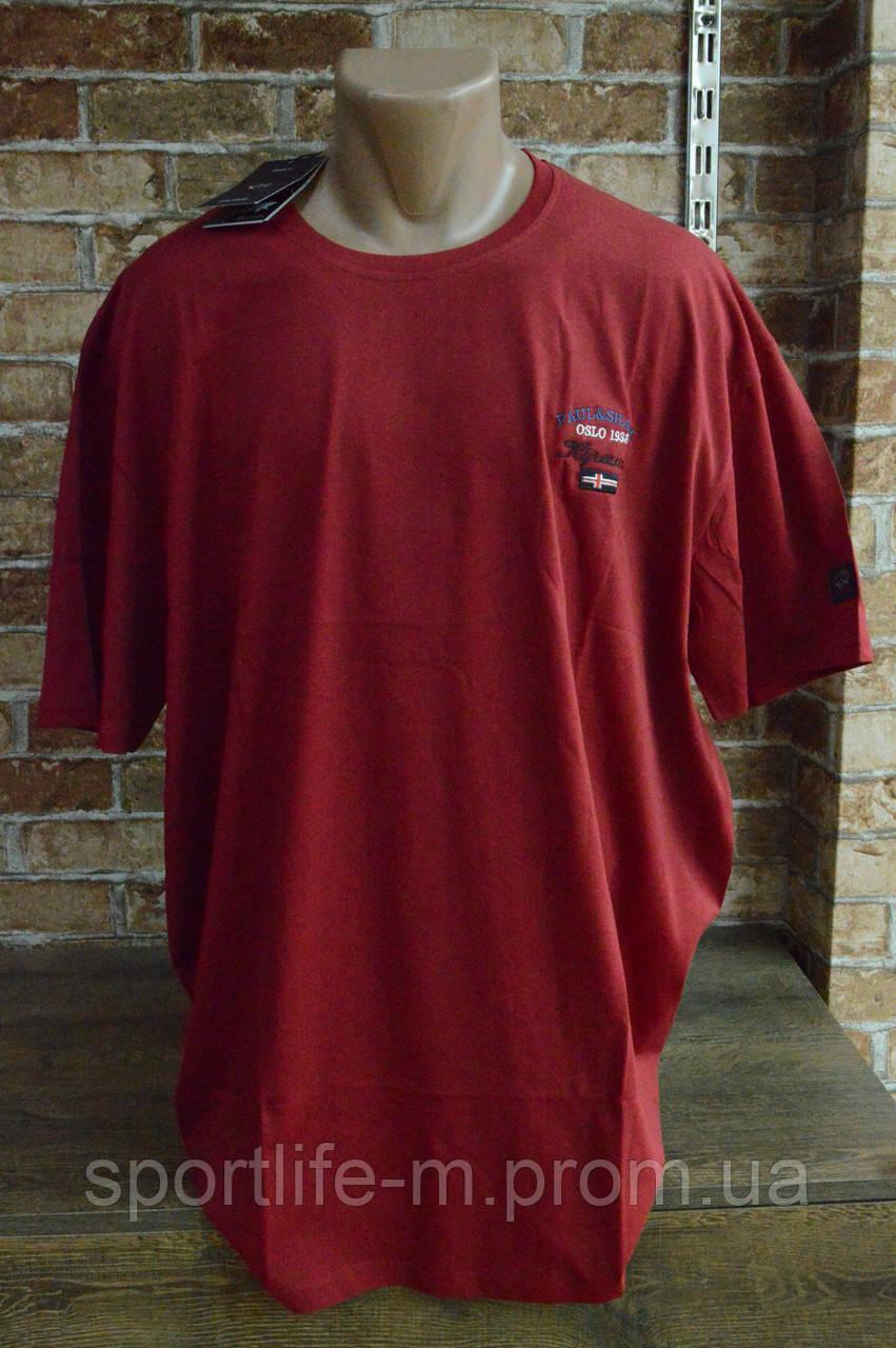 5003-Мужская Футболка Супер Батал -Красный