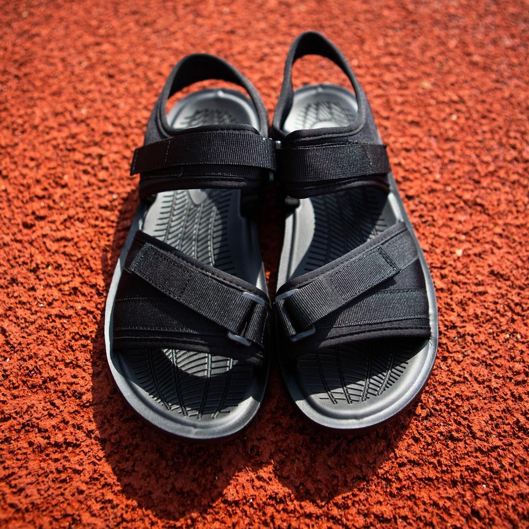 Мужские босоножки легкие практичные текстильные на застежке (черные)