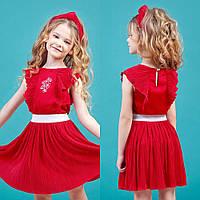 Красный комплект юбка плиссе + блуза с крылышками zironka