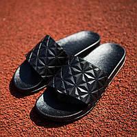 Кожаные мужские шлепанцы стильные модные в черном цвете, фото 1