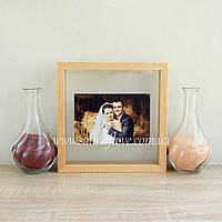 """Набор для песочной церемонии """"Рамка под фото"""" светлое дерево, фото 1"""