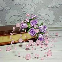 Жемчуг на леске,  цвет нежно-розовый, 1,3 м
