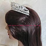 Диадема для невесты под серебро, высота 3,5 см., фото 4