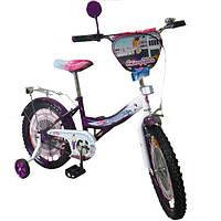 """Велосипед Tilly Стюардеса 18"""" T-21827 purple + white с дополнительными колесами"""