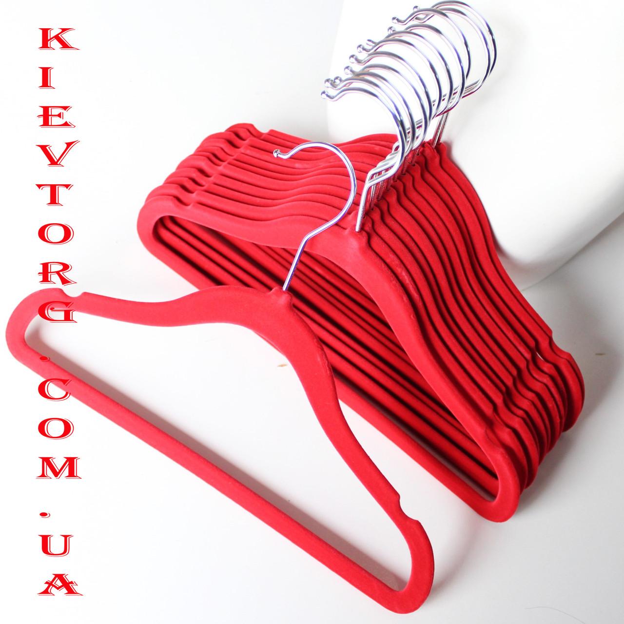 Вешалки детские флокированные (бархатные) 30 см, плечики красные