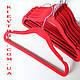 Вешалки детские флокированные (бархатные) 30 см, плечики красные, фото 3