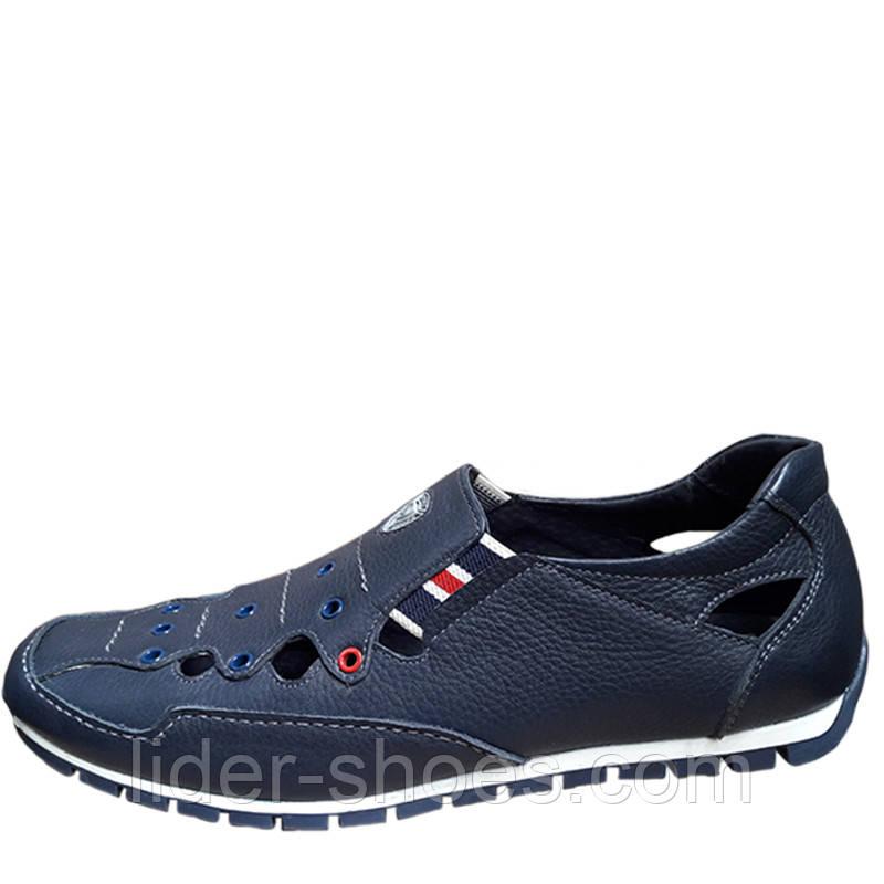 Мужские кожаные туфли на резинке