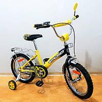 """Велосипед Tilly Explorer 16"""" T-21618 yellow + black с дополнительными колесами"""