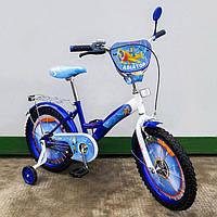 """Велосипед Tilly Авиатор 18"""" T-218210 blue + white с дополнительными колесами"""