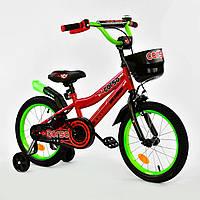 """Велосипед 16"""" дюймов 2-х колёсный R-16292 """"CORSO"""", ручной тормоз, звоночек, сидение с ручкой, дополнительные к"""