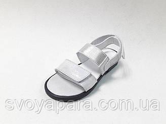 Босоножки для девочки серебряные кожаные (0195)