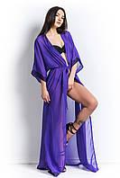 Пляжная накидка-халат из шифона с гипюром фиолетового цвета