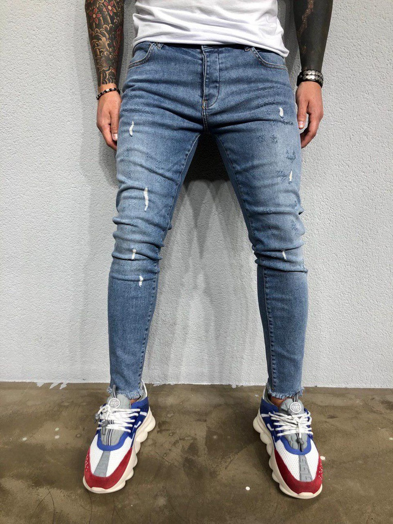 Мужские рваные джинсы (синие)