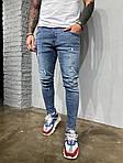 Мужские рваные джинсы (синие), фото 4