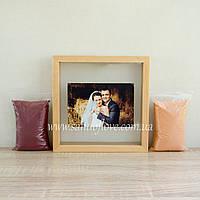Набор для свадебной песочной церемонии: Рамка под фото + песок (светлое дерево), фото 1