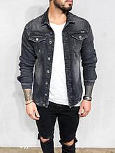 Мужской джинсовый пиджак (темно-серый)