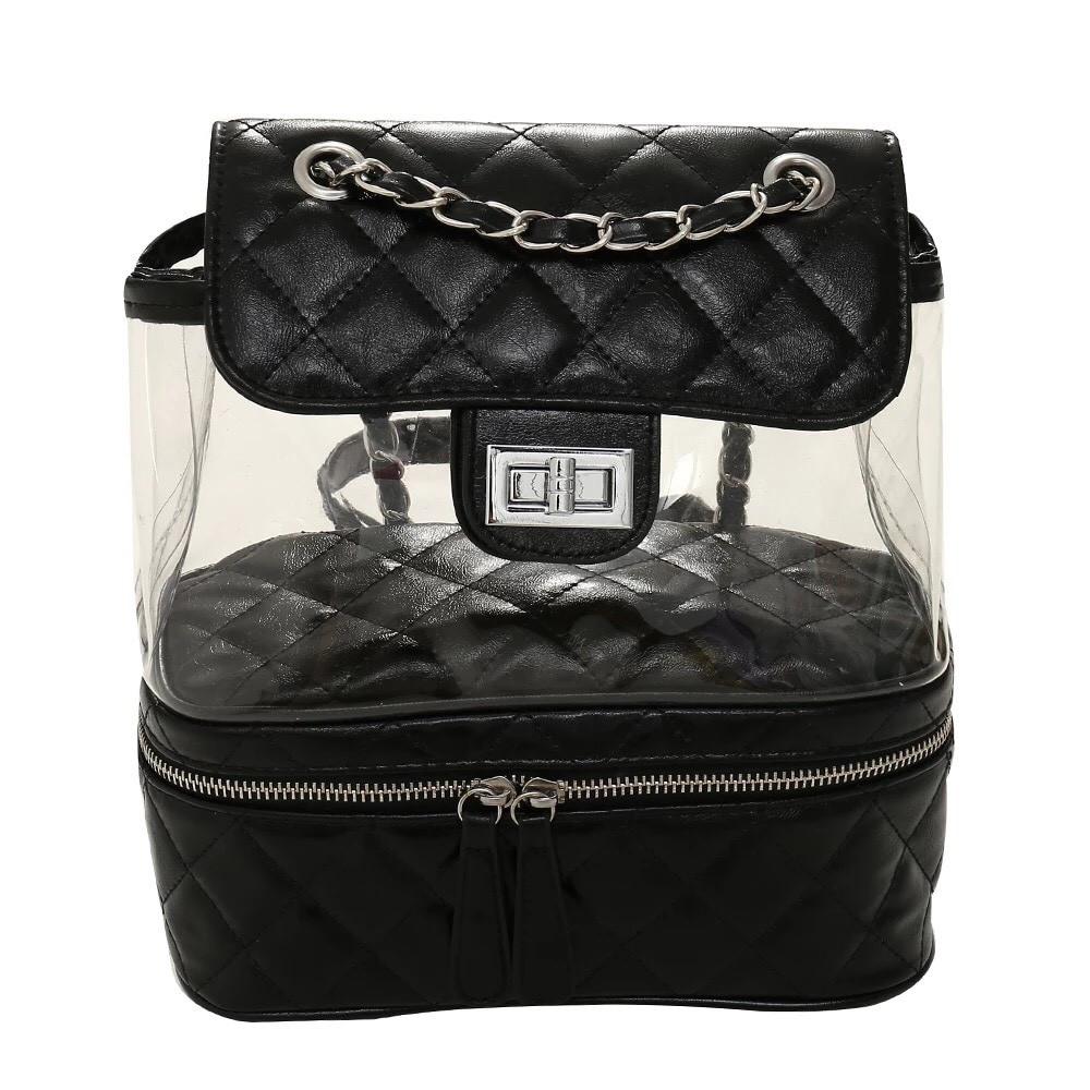 Рюкзак-сумка,сундучок прозрачный PingShang черный (AV122)