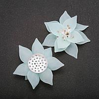 Фурнитура нашивка Цветок Лилии лазурный акрил d-50(+-)мм