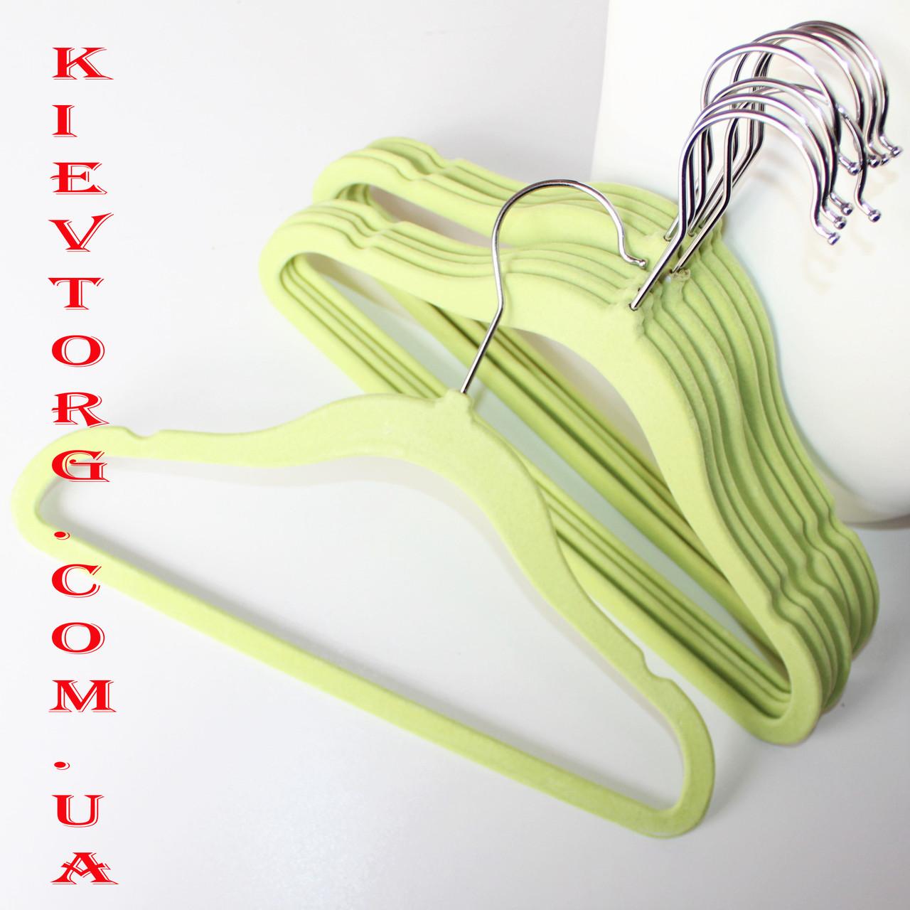 Вешалки детские флокированные (бархатные) 30 см, плечики салатовые