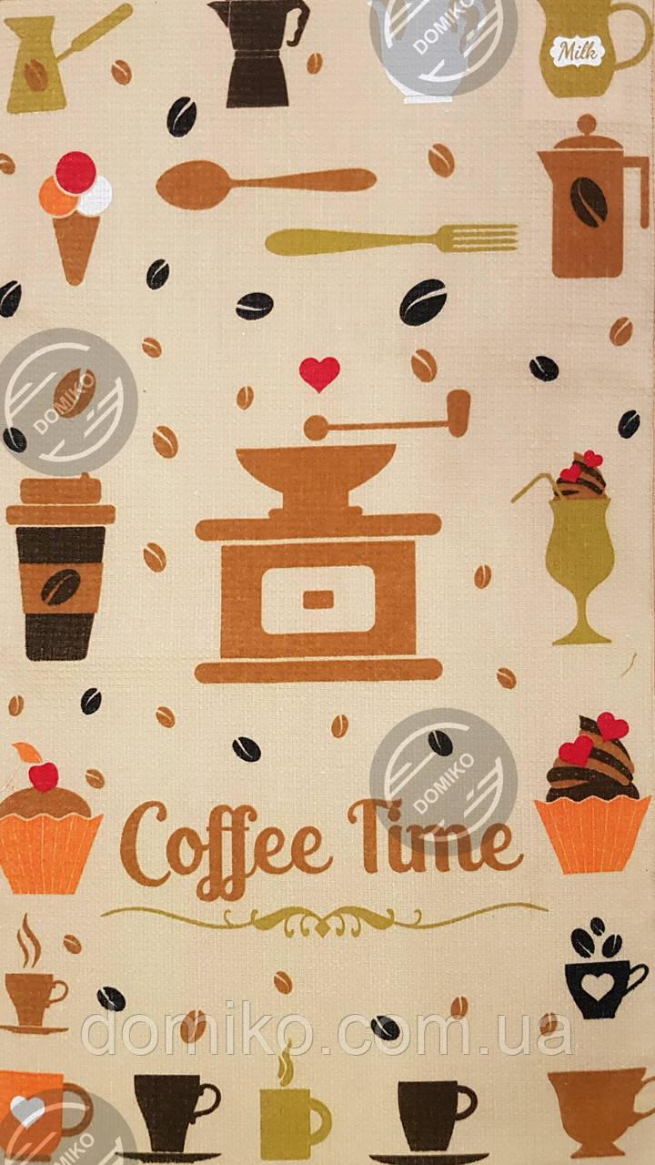 .Кухонное  полотенце 35*61 вафелька Время кофе)))