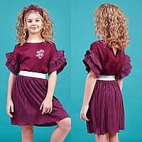Бордовый комплект блуза с рукавом 3/4 и юбка-плиссе zironka