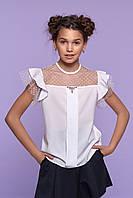 """Школьная  блуза c коротким рукавом для девочки  """"Жасмин""""   128, 134, 140, 146р"""