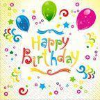 "Салфетки 33х33 Марго ""С Днем Рождения - Happy Birthday"" 20 шт.0126810"