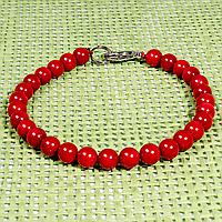 Браслет из красного коралла, Ø6 мм., 572БРК